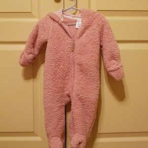 Carter's Pink hooded furry snow suit
